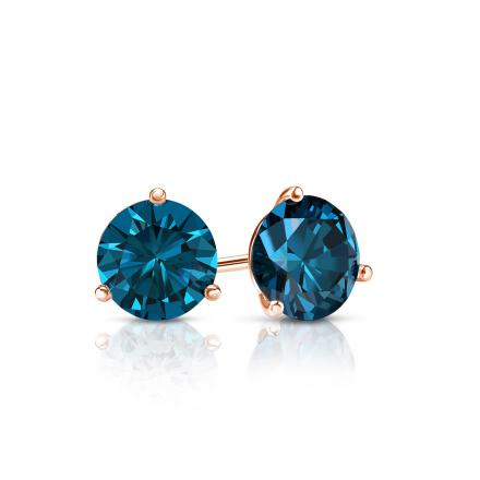 Certified 14k Rose Gold 3-Prong Martini Round Blue Diamond Stud Earrings 0.50 ct. tw. (Blue, SI1-SI2)