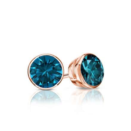 Certified 14k Rose Gold Bezel Round Blue Diamond Stud Earrings 0.50 ct. tw. (Blue, SI1-SI2)