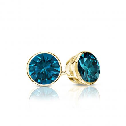Certified 14k Yellow Gold Bezel Round Blue Diamond Stud Earrings 0.50 ct. tw. (Blue, SI1-SI2)