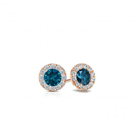 Certified 14k Rose Gold Halo Round Blue Diamond Stud Earrings 0.50 ct. tw. (Blue, SI1-SI2)