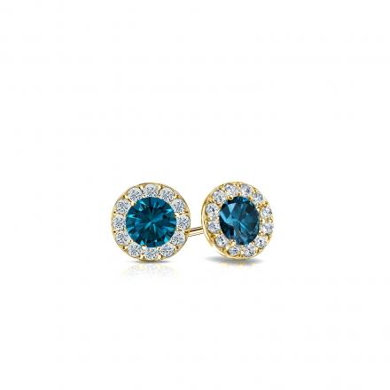 Certified 18k Yellow Gold Halo Round Blue Diamond Stud Earrings 0.50 ct. tw. (Blue, SI1-SI2)