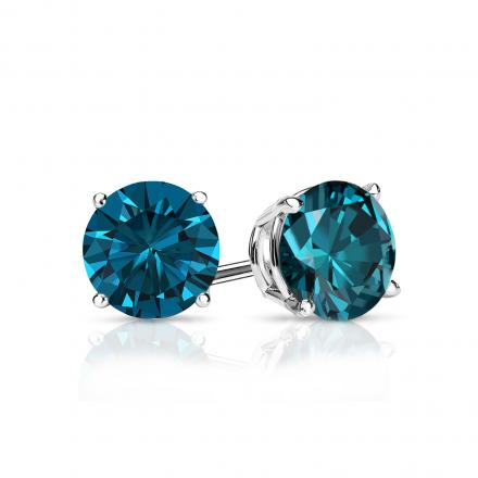 Certified 14k White Gold 4-Prong Basket Round Blue Diamond Stud Earrings 0.75 ct. tw. (Blue, SI1-SI2)