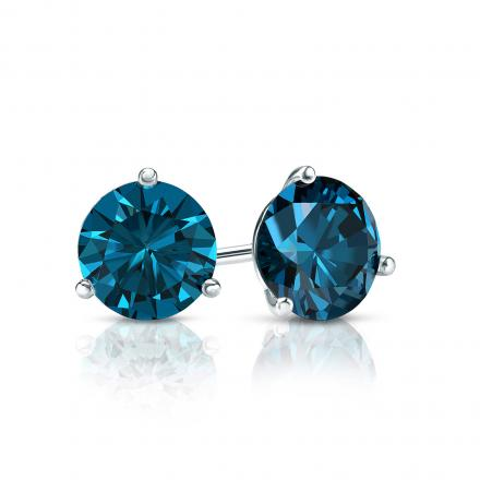 Certified 14k White Gold 3-Prong Martini Round Blue Diamond Stud Earrings 0.75 ct. tw. (Blue, SI1-SI2)