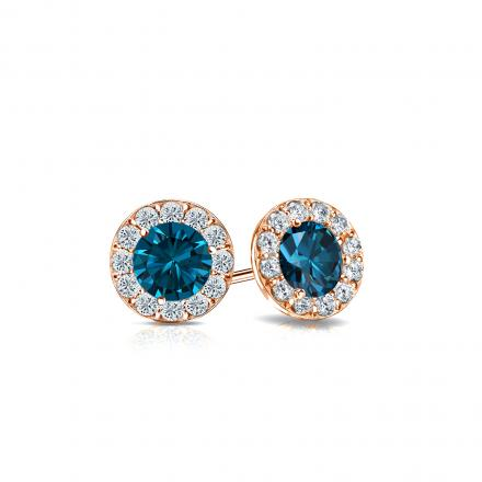 Certified 14k Rose Gold Halo Round Blue Diamond Stud Earrings 0.75 ct. tw. (Blue, SI1-SI2)