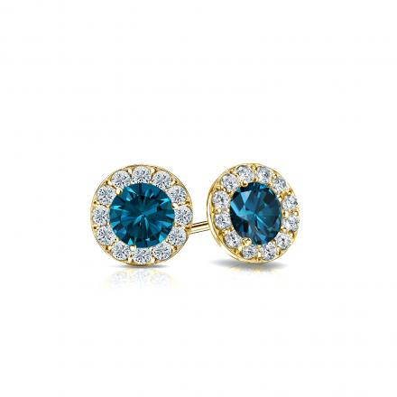 Certified 14k Yellow Gold Halo Round Blue Diamond Stud Earrings 0.75 ct. tw. (Blue, SI1-SI2)