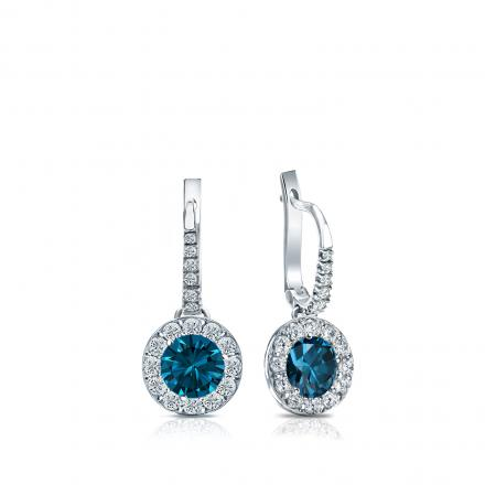 Certified 14k White Gold Dangle Studs Halo Round Blue Diamond Earrings 0.75 ct. tw. (Blue, SI1-SI2)