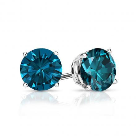 Certified 14k White Gold 4-Prong Basket Round Blue Diamond Stud Earrings 1.00 ct. tw. (Blue, SI1-SI2)