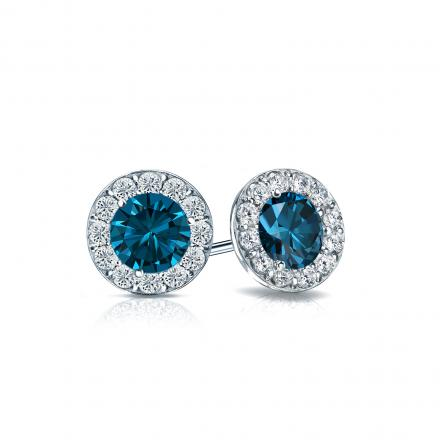 Certified 18k White Gold Halo Round Blue Diamond Stud Earrings 1.00 ct. tw. (Blue, SI1-SI2)