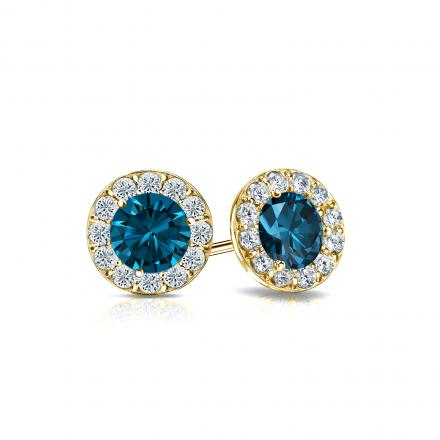 Certified 14k Yellow Gold Halo Round Blue Diamond Stud Earrings 1.00 ct. tw. (Blue, SI1-SI2)