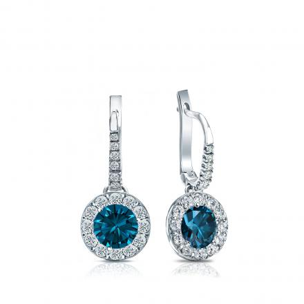 Certified 14k White Gold Dangle Studs Halo Round Blue Diamond Earrings 1.00 ct. tw. (Blue, SI1-SI2)
