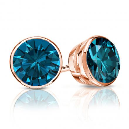 Certified 14k Rose Gold Bezel Round Blue Diamond Stud Earrings 1.50 ct. tw. (Blue, SI1-SI2)