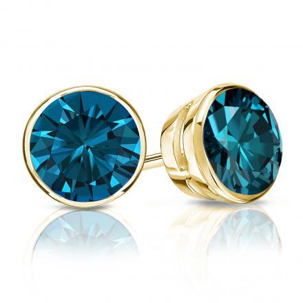 Certified 14k Yellow Gold Bezel Round Blue Diamond Stud Earrings 1.50 ct. tw. (Blue, SI1-SI2)