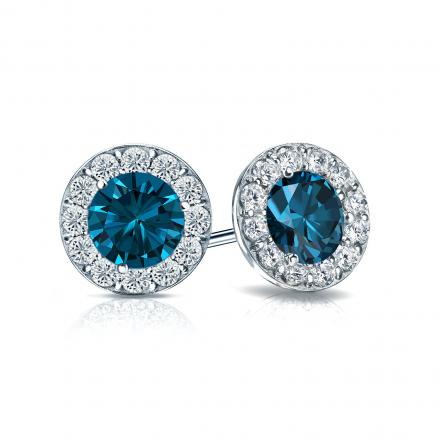 Certified 14k White Gold Halo Round Blue Diamond Stud Earrings 1.50 ct. tw. (Blue, SI1-SI2)