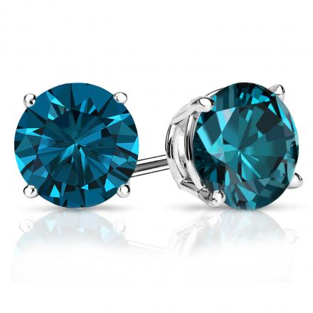 Certified Platinum 4-Prong Basket Round Blue Diamond Stud Earrings 2.50 ct. tw. (Blue, SI1-SI2)