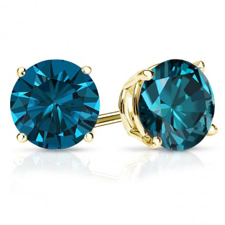Certified 18k Yellow Gold 4-Prong Basket Round Blue Diamond Stud Earrings 3.00 ct. tw. (Blue, SI1-SI2)