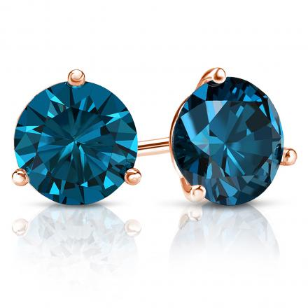 Certified 14k Rose Gold 3-Prong Martini Round Blue Diamond Stud Earrings 2.50 ct. tw. (Blue, SI1-SI2)