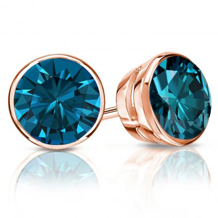 Certified 14k Rose Gold Bezel Round Blue Diamond Stud Earrings 2.00 ct. tw. (Blue, SI1-SI2)