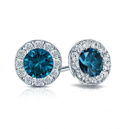 Certified 14k White Gold Halo Round Blue Diamond Stud Earrings 2.00 ct. tw. (Blue, SI1-SI2)