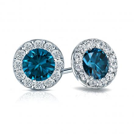 Certified 14k White Gold Halo Round Blue Diamond Stud Earrings 2.50 ct. tw. (Blue, SI1-SI2)