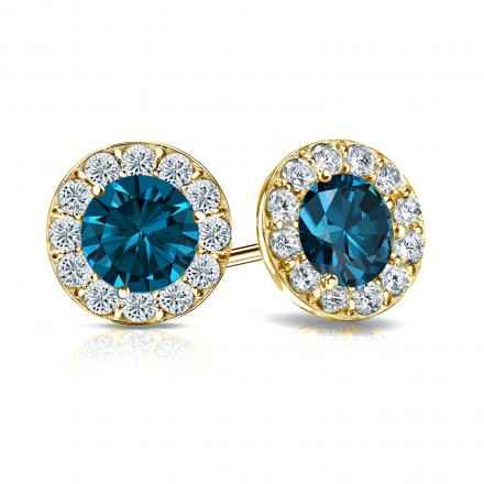 Certified 18k Yellow Gold Halo Round Blue Diamond Stud Earrings 2.50 ct. tw. (Blue, SI1-SI2)