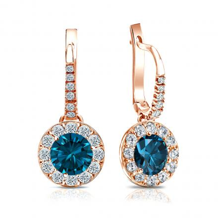 Certified 14k Rose Gold Dangle Studs Halo Round Blue Diamond Earrings 2.50 ct. tw. (Blue, SI1-SI2)