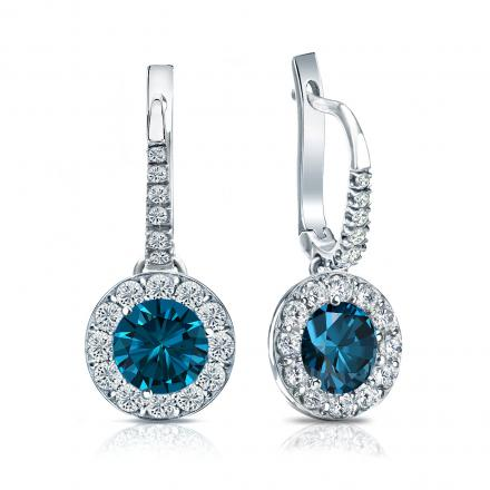 Certified Platinum Dangle Studs Halo Round Blue Diamond Earrings 2.50 ct. tw. (Blue, SI1-SI2)