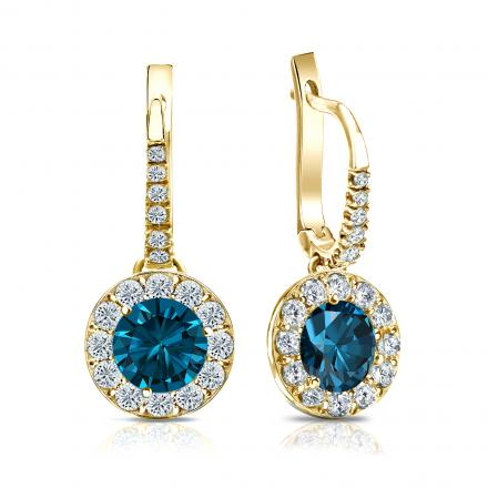Certified 18k Yellow Gold Dangle Studs Halo Round Blue Diamond Earrings 2.50 ct. tw. (Blue, SI1-SI2)