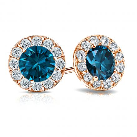 Certified 14k Rose Gold Halo Round Blue Diamond Stud Earrings 3.00 ct. tw. (Blue, SI1-SI2)