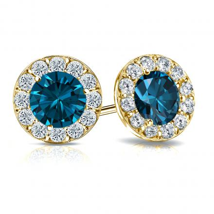 Certified 18k Yellow Gold Halo Round Blue Diamond Stud Earrings 3.00 ct. tw. (Blue, SI1-SI2)