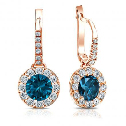 Certified 14k Rose Gold Dangle Studs Halo Round Blue Diamond Earrings 3.00 ct. tw. (Blue, SI1-SI2)