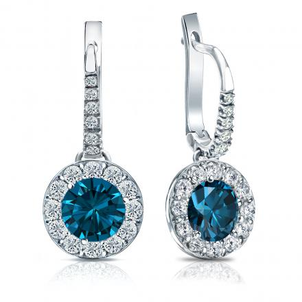 Certified Platinum Dangle Studs Halo Round Blue Diamond Earrings 3.00 ct. tw. (Blue, SI1-SI2)