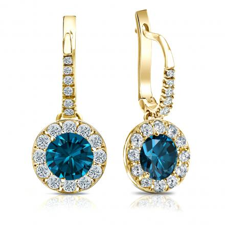 Certified 14k Yellow Gold Dangle Studs Halo Round Blue Diamond Earrings 3.00 ct. tw. (Blue, SI1-SI2)