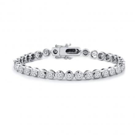 2.00 ct. tw. Round Diamond Tennis Bracelet with a 8.00 ct. tw. Look (H-I, SI1-SI2) in 14K White Gold