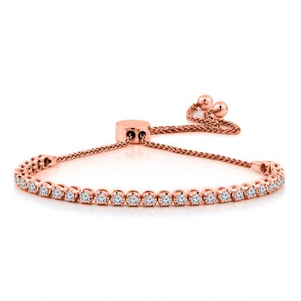 Certified 14k Rose Gold 4-Prong Round Diamond Adjustable Link Bracelet 1.00 ct. tw. (H-I, I1-I2)