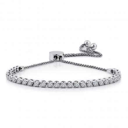 Certified 14k White Gold 4-Prong Round Diamond Adjustable Bracelet 1.00 ct. tw. (H-I, I1-I2)