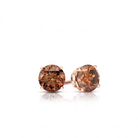Certified 14k Rose Gold 4-Prong Basket Round Brown Diamond Stud Earrings 0.25 ct. tw.  (Brown, SI1-SI2)