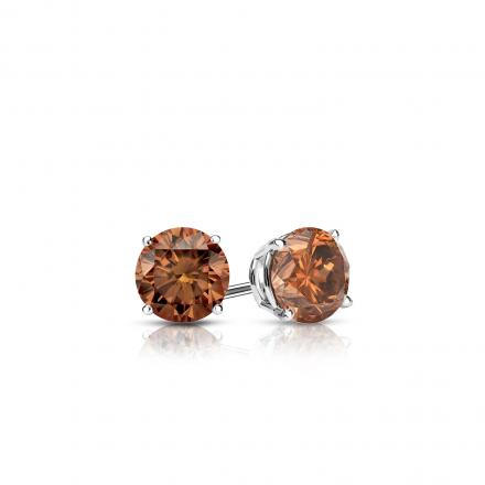 Certified Platinum 4-Prong Basket Round Brown Diamond Stud Earrings 0.25 ct. tw. (Brown, SI1-SI2)