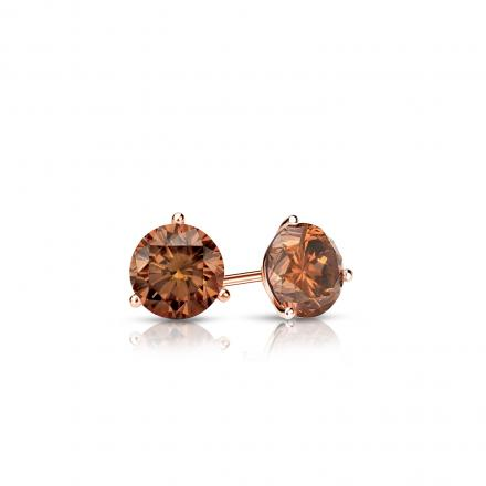 Certified 14k Rose Gold 3-Prong Martini Round Brown Diamond Stud Earrings 0.25 ct. tw.  (Brown, SI1-SI2)