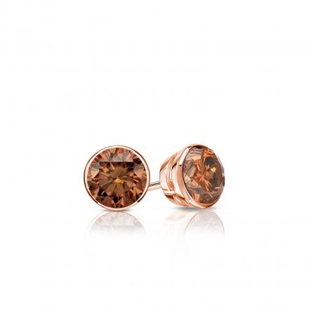 Certified 14k Rose Gold Bezel Round Brown Diamond Stud Earrings 0.25 ct. tw.  (Brown, SI1-SI2)