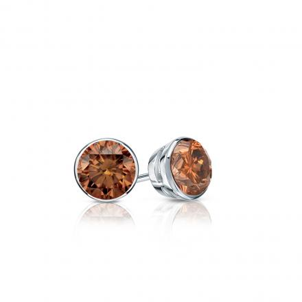Certified 14k White Gold Bezel Round Brown Diamond Stud Earrings 0.25 ct. tw.  (Brown, SI1-SI2)