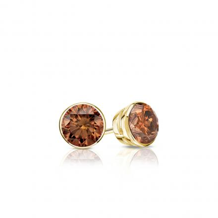 Certified 18k Yellow Gold Bezel Round Brown Diamond Stud Earrings 0.25 ct. tw. (Brown, SI1-SI2)