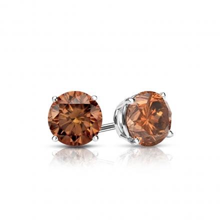 Certified 18k White Gold 4 Prong Basket Round Brown Diamond Stud Earrings 0 50 Ct Tw Brown Si1 Si2 Diamondstuds Com