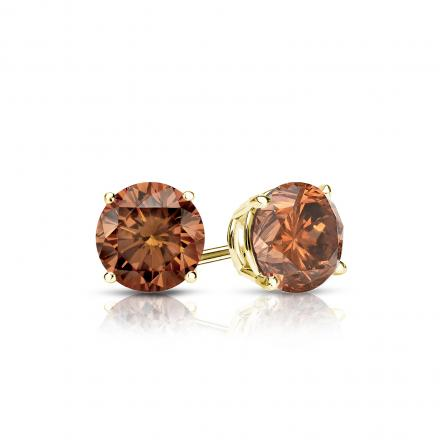 Certified 18k Yellow Gold 4-Prong Basket Round Brown Diamond Stud Earrings 0.50 ct. tw. (Brown, SI1-SI2)