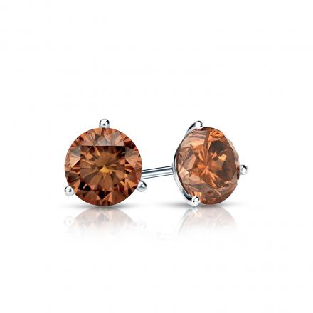 Certified 18k White Gold 3-Prong Martini Round Brown Diamond Stud Earrings 0.50 ct. tw. (Brown, SI1-SI2)