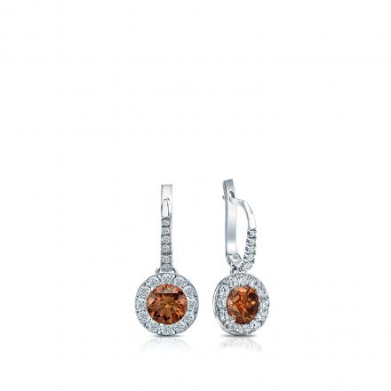Certified 18k White Gold Dangle Studs Halo Round Brown Diamond Earrings 0.50 ct. tw. (Brown, SI1-SI2)