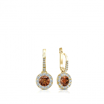 Certified 18k Yellow Gold Dangle Studs Halo Round Brown Diamond Earrings 0 50 Ct Tw Brown Si1 Si2 Diamondstuds Com