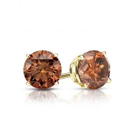 Certified 14k Yellow Gold 4-Prong Basket Round Brown Diamond Stud Earrings 0.75 ct. tw. (Brown, SI1-SI2)