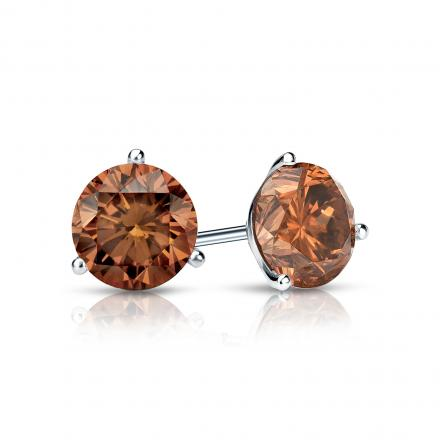 Certified 18k White Gold 3-Prong Martini Round Brown Diamond Stud Earrings 0.75 ct. tw. (Brown, SI1-SI2)
