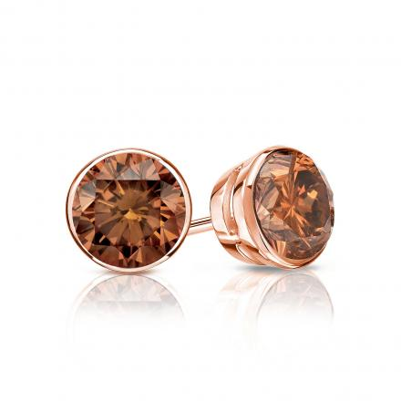Certified 14k Rose Gold Bezel Round Brown Diamond Stud Earrings 0.75 ct. tw. (Brown, SI1-SI2)