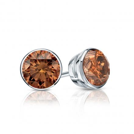 Certified 18k White Gold Bezel Round Brown Diamond Stud Earrings 0.75 ct. tw. (Brown, SI1-SI2)